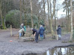 Work Party at Coppice Pond, Feb 2017. Bingley angling club